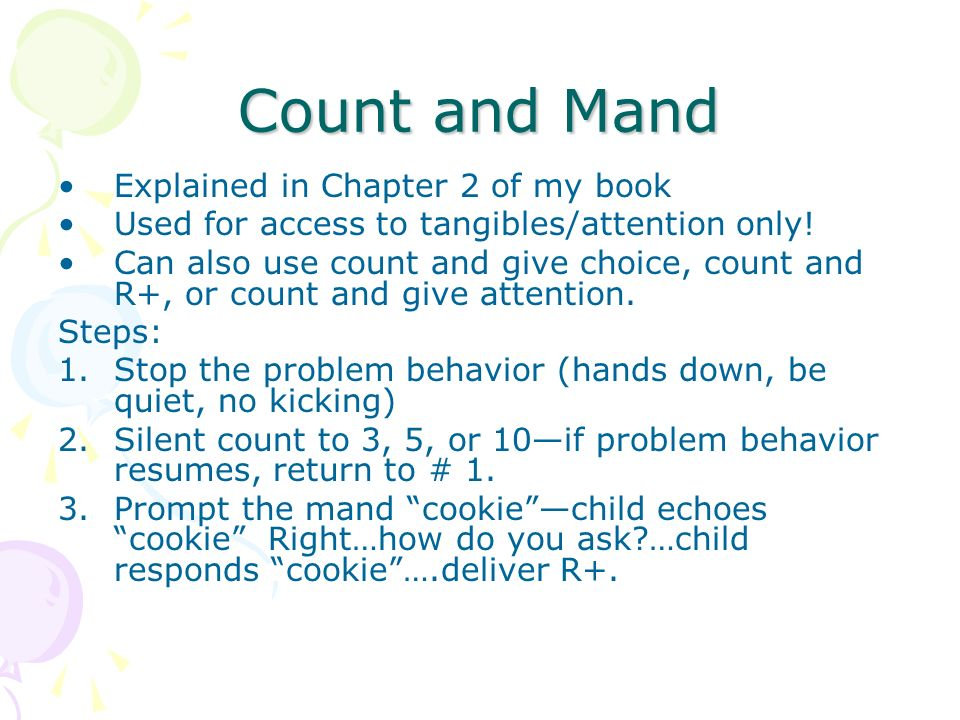 Count and Mand Explained in Chapter 2 of my book