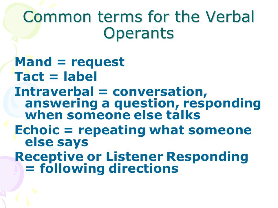 Common terms for the Verbal Operants