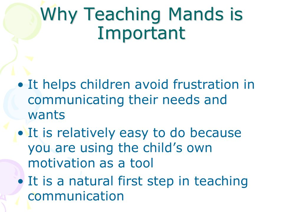 Why Teaching Mands is Important