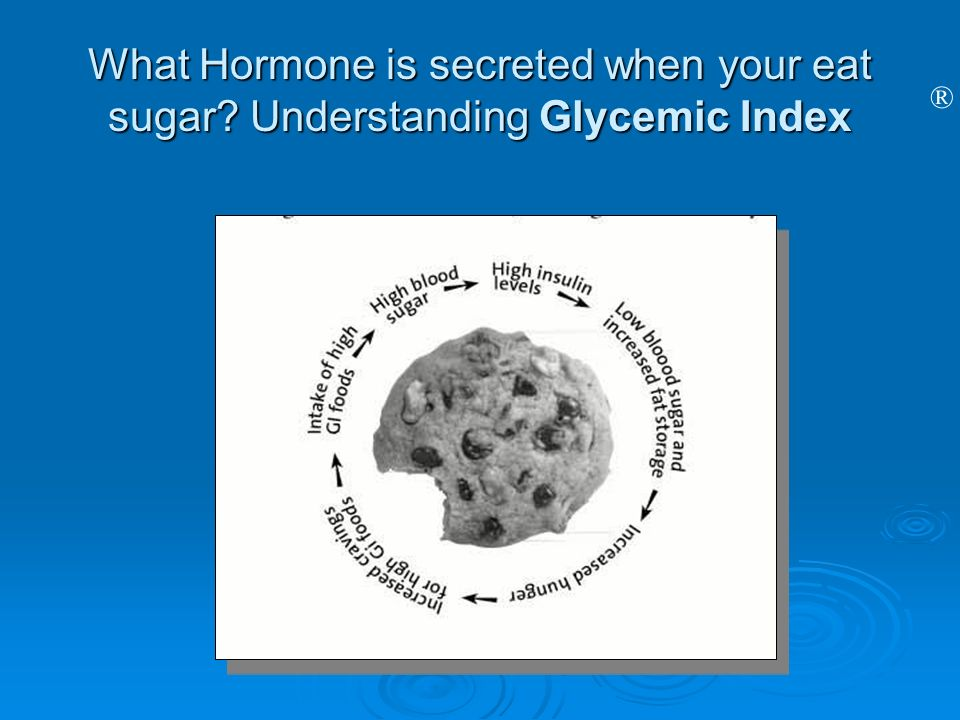 What Hormone is secreted when your eat sugar