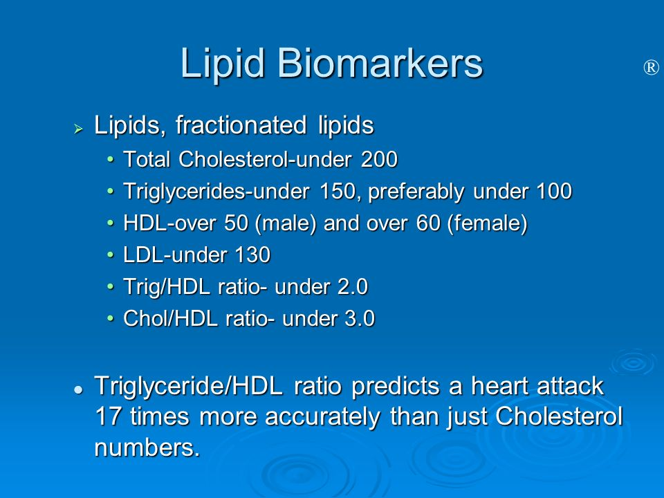 Lipid Biomarkers Lipids, fractionated lipids