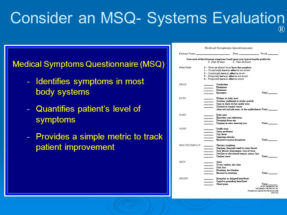 Consider an MSQ- Systems Evaluation