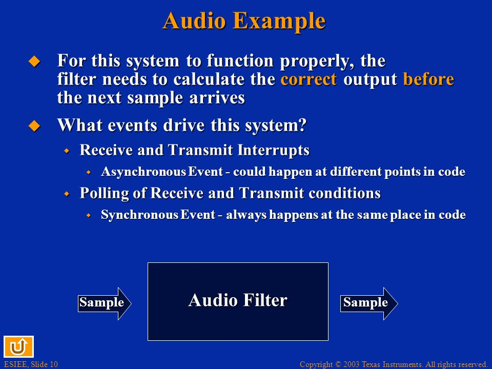 Audio Example For this system to function properly, the filter needs to calculate the correct output before the next sample arrives.