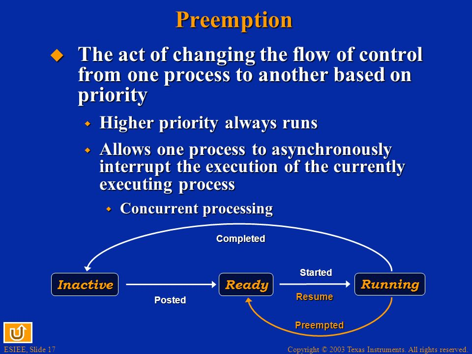 Preemption The act of changing the flow of control from one process to another based on priority. Higher priority always runs.