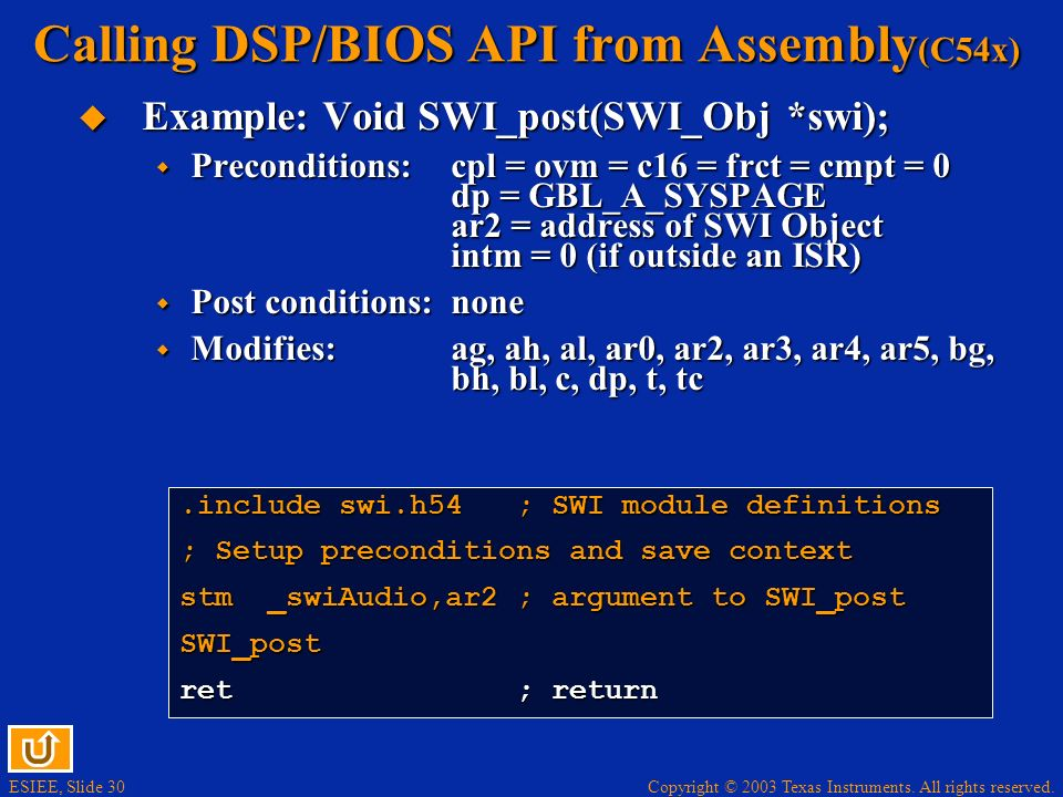 Calling DSP/BIOS API from Assembly(C54x)