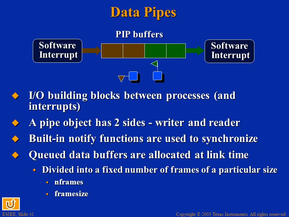 Data Pipes I/O building blocks between processes (and interrupts)