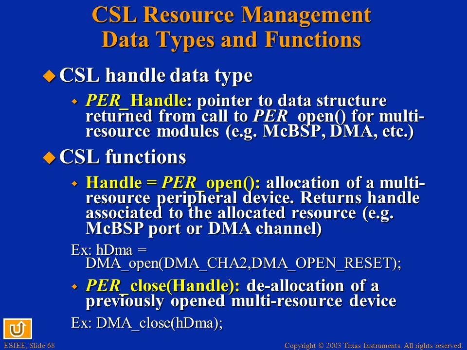 CSL Resource Management Data Types and Functions