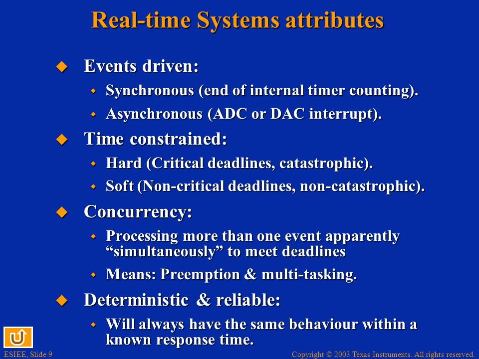 Real-time Systems attributes