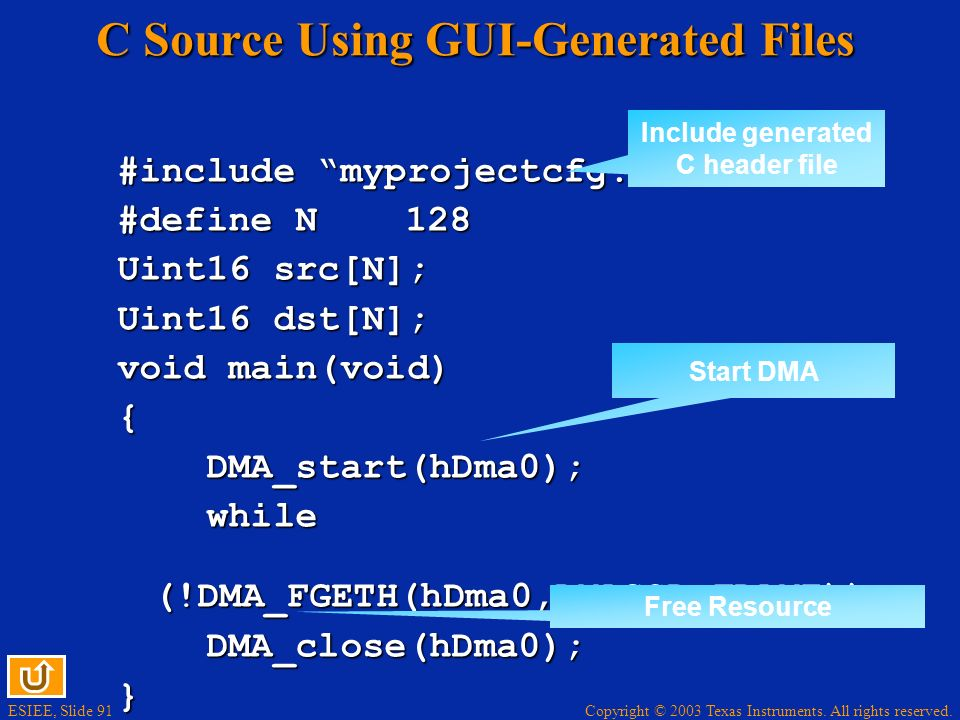 C Source Using GUI-Generated Files