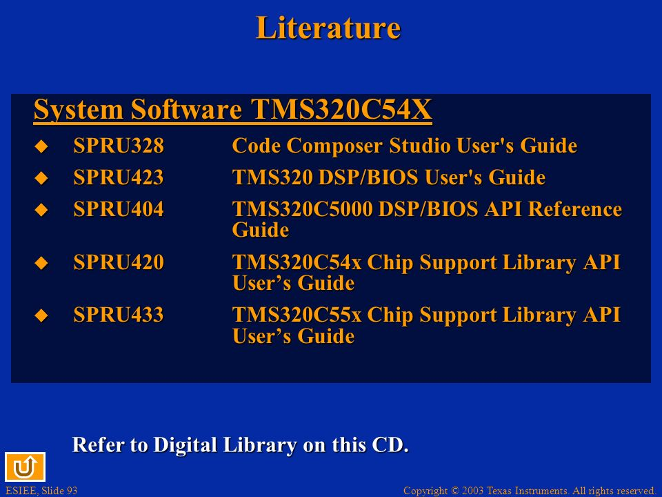 Literature System Software TMS320C54X