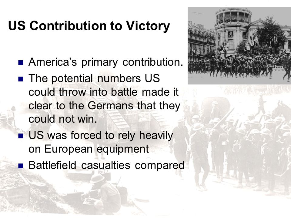 US Contribution to Victory