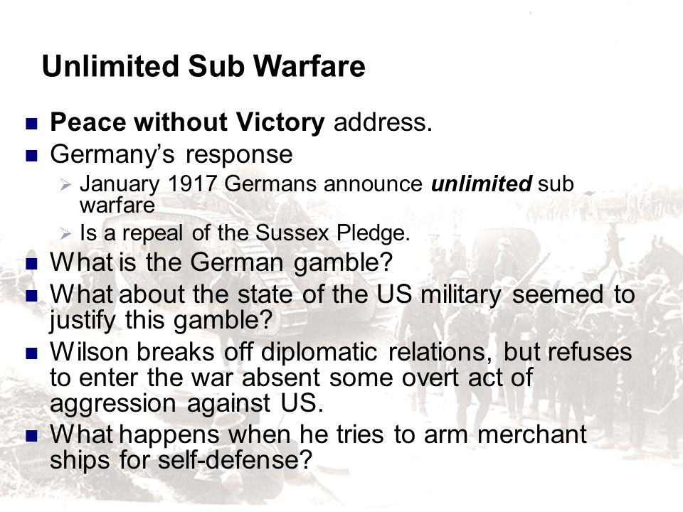 Unlimited Sub Warfare Peace without Victory address.