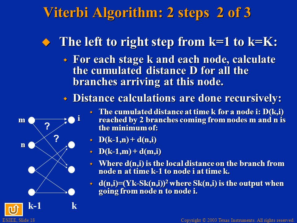 Viterbi Algorithm: 2 steps 2 of 3