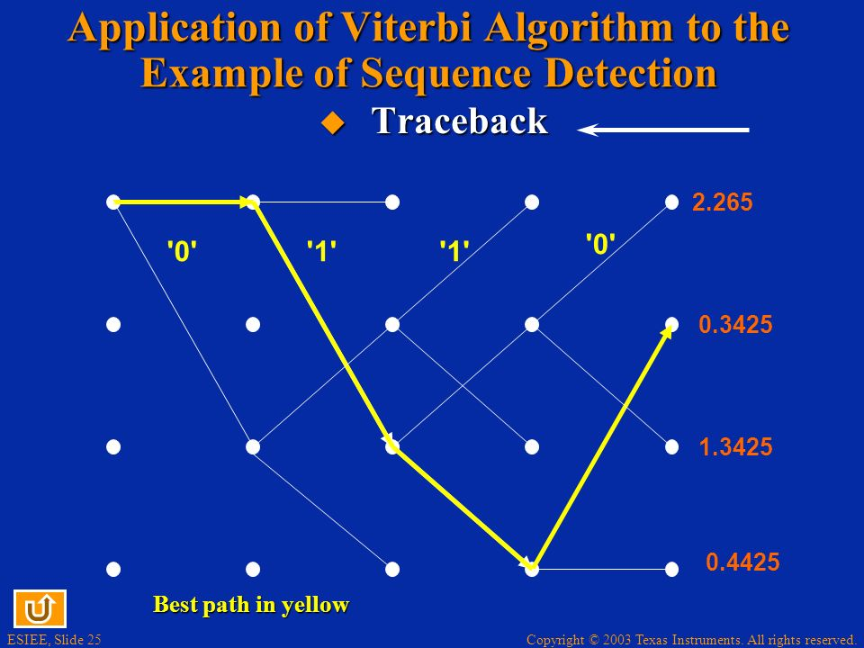 Application of Viterbi Algorithm to the Example of Sequence Detection