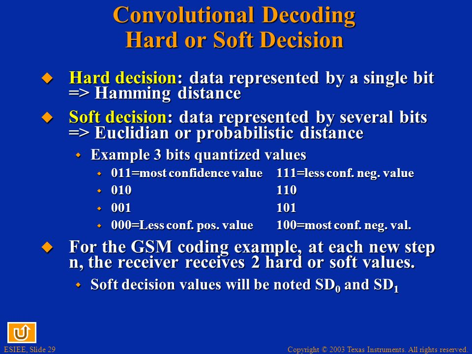 Convolutional Decoding Hard or Soft Decision