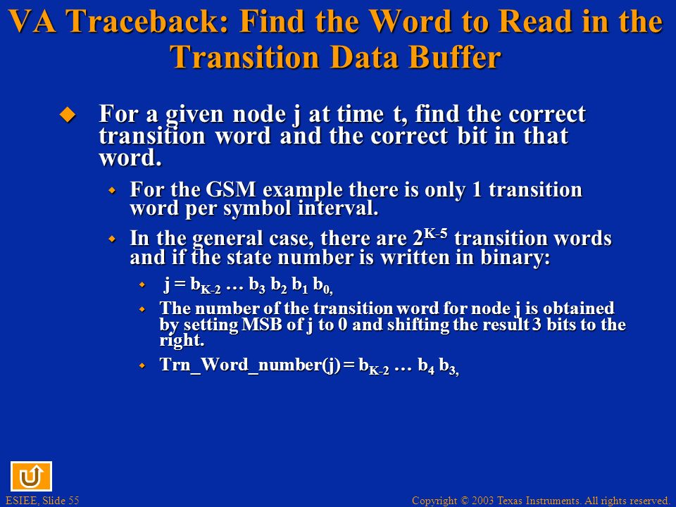 VA Traceback: Find the Word to Read in the Transition Data Buffer