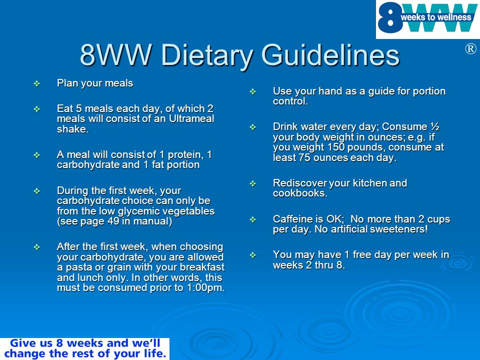 8WW Dietary Guidelines Plan your meals