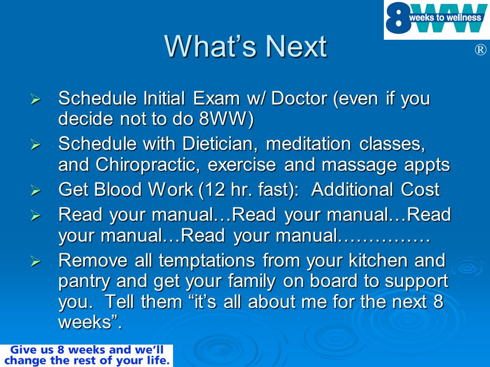 What's Next Schedule Initial Exam w/ Doctor (even if you decide not to do 8WW)