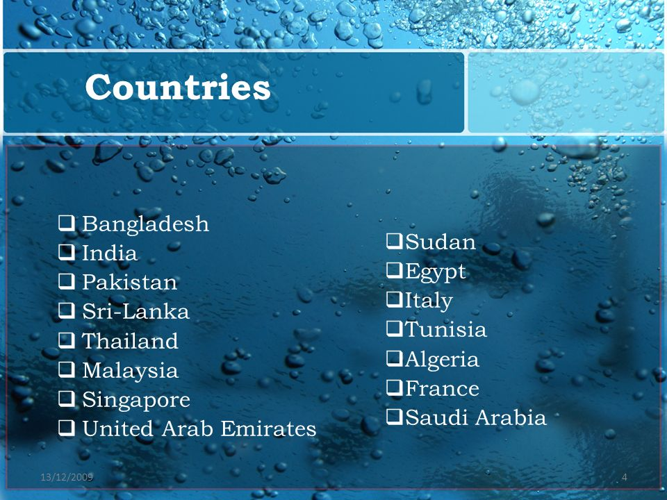 Countries Bangladesh India Sudan Pakistan Egypt Sri-Lanka Italy