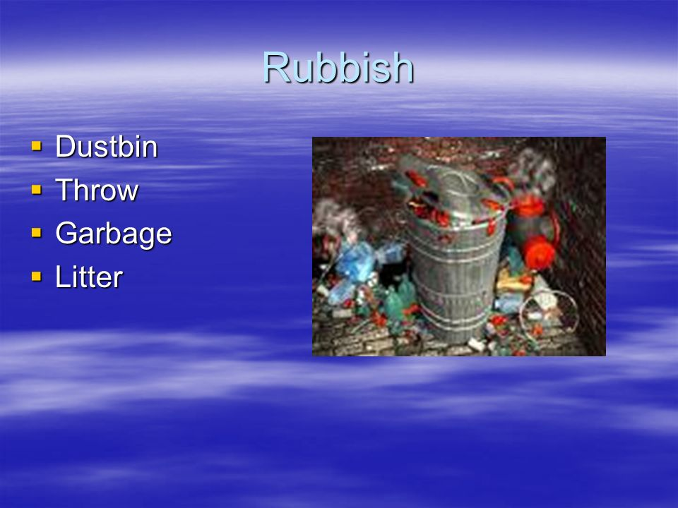 Rubbish Dustbin Throw Garbage Litter