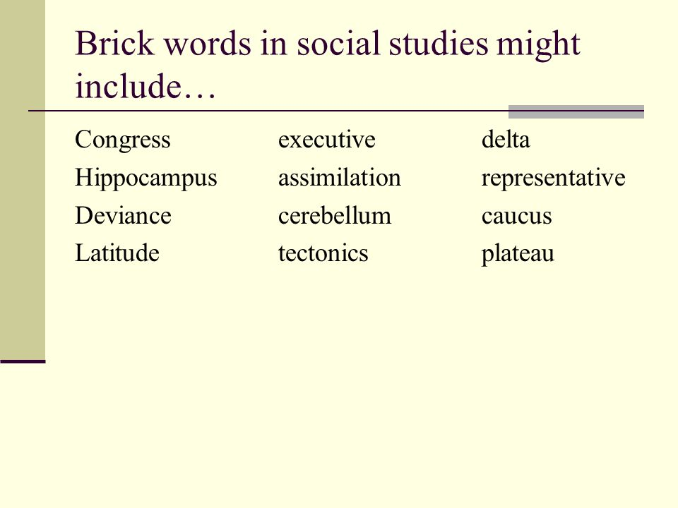 Brick words in social studies might include…