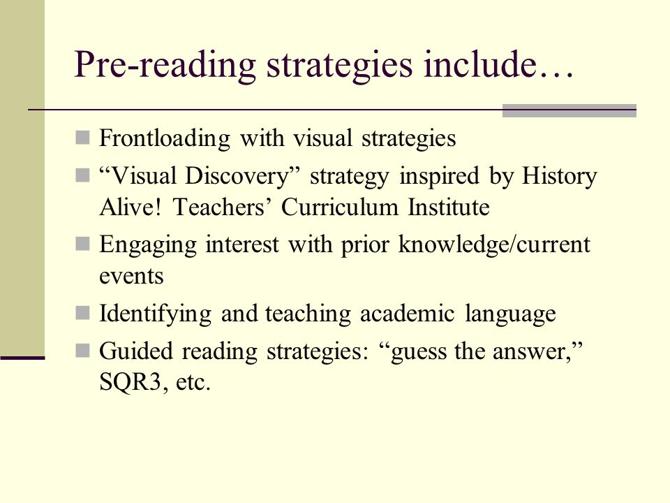 Pre-reading strategies include…