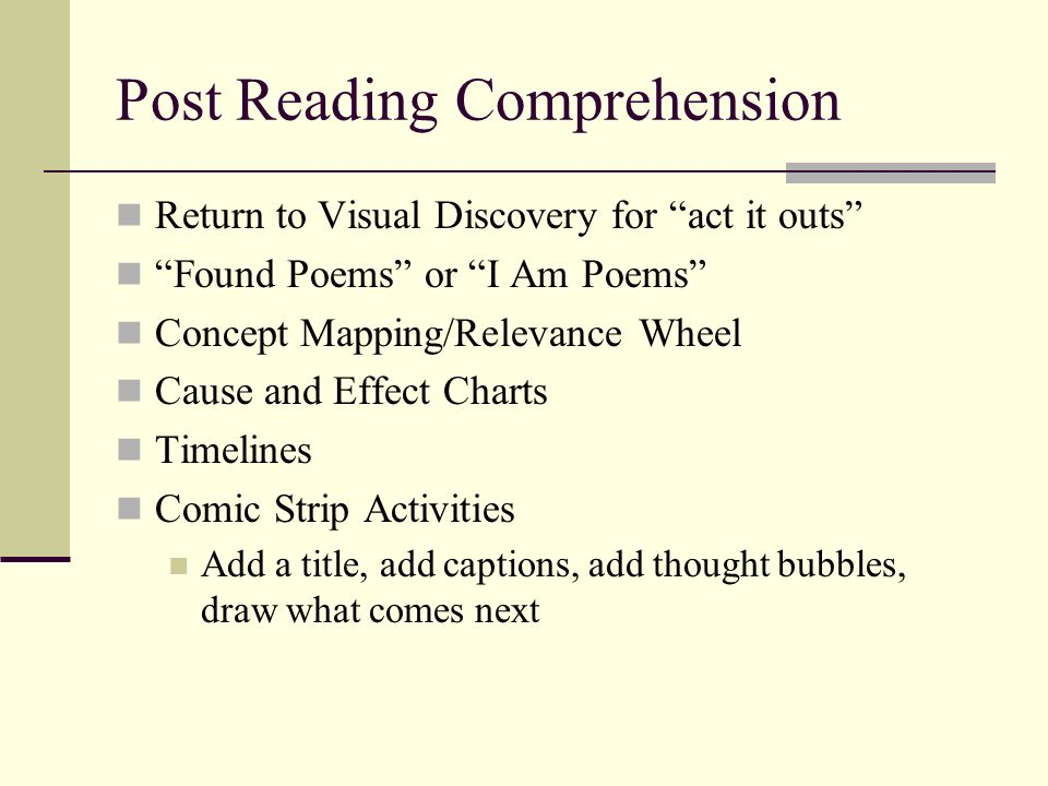 Post Reading Comprehension