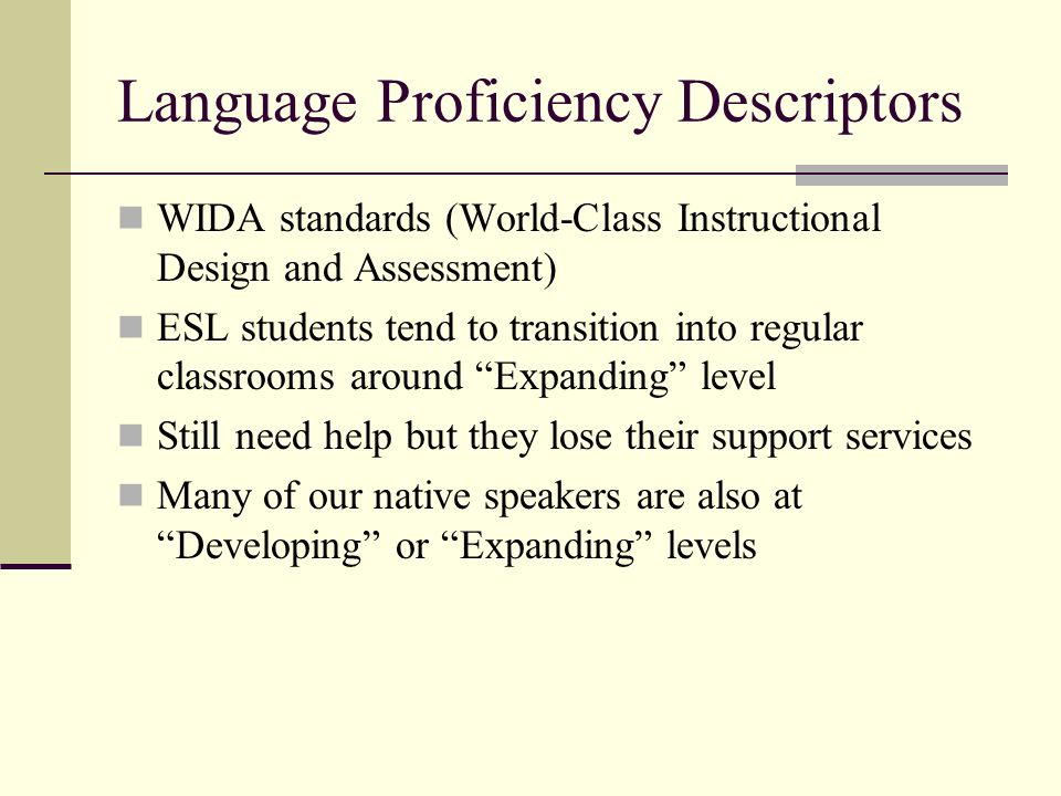 Language Proficiency Descriptors