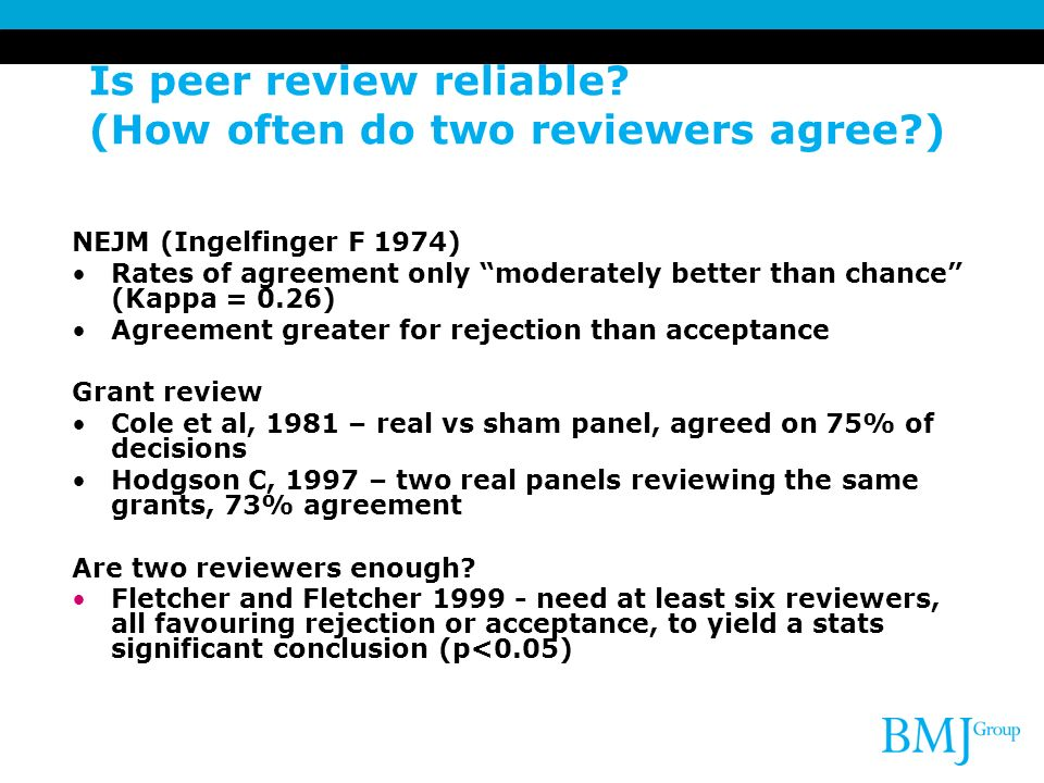 Is peer review reliable (How often do two reviewers agree )