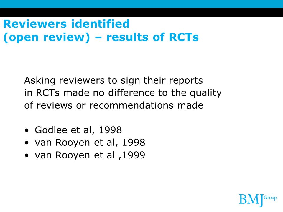 Reviewers identified (open review) – results of RCTs