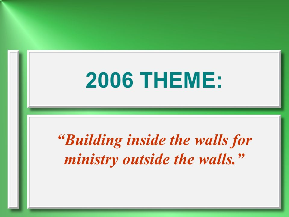Building inside the walls for ministry outside the walls.
