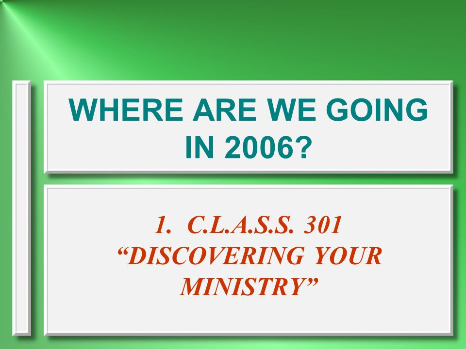 1. C.L.A.S.S. 301 DISCOVERING YOUR MINISTRY