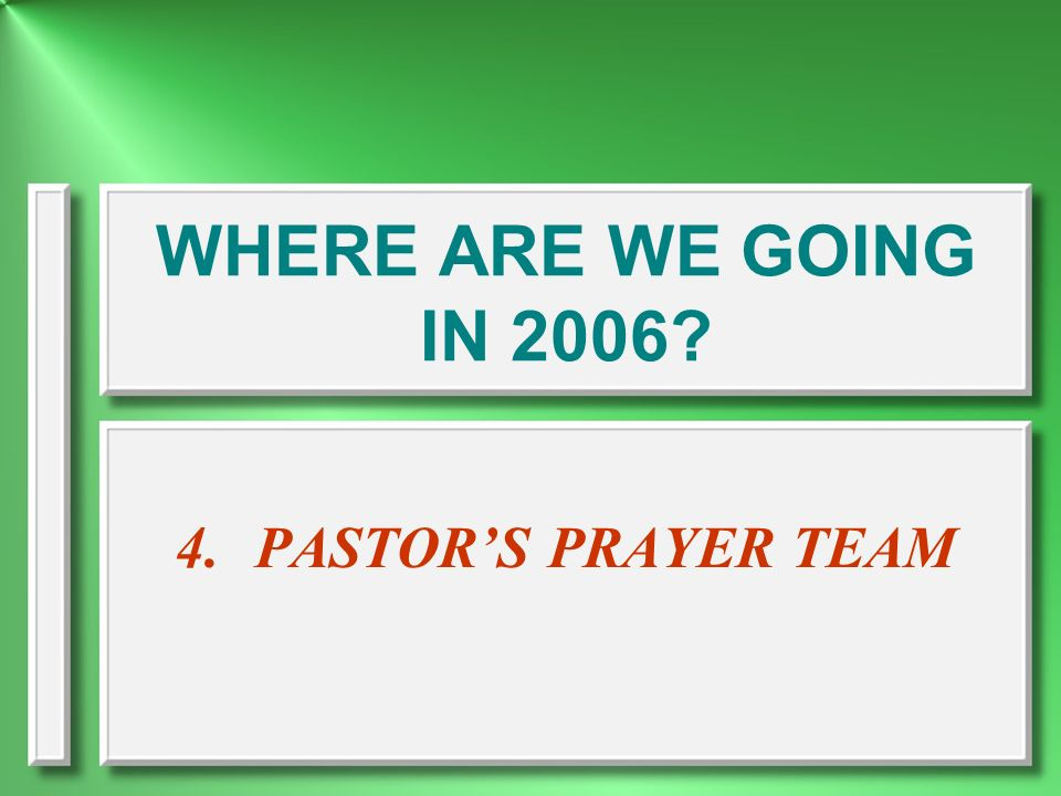 WHERE ARE WE GOING IN 2006 PASTOR'S PRAYER TEAM