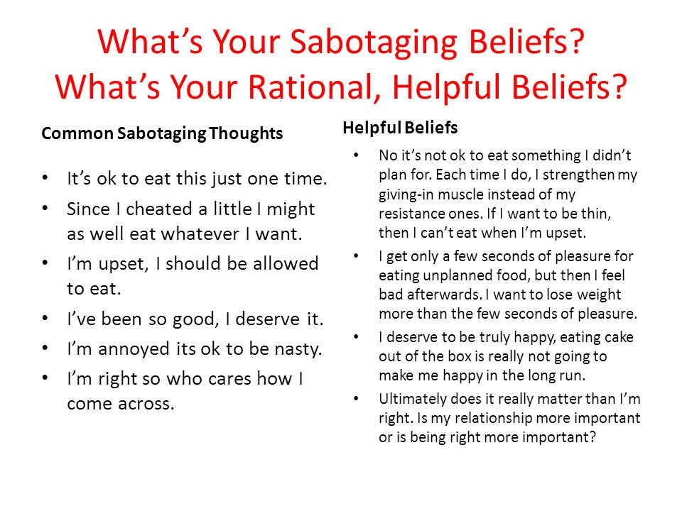 What's Your Sabotaging Beliefs What's Your Rational, Helpful Beliefs