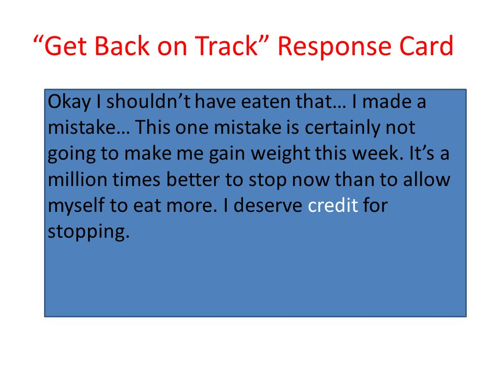 Get Back on Track Response Card