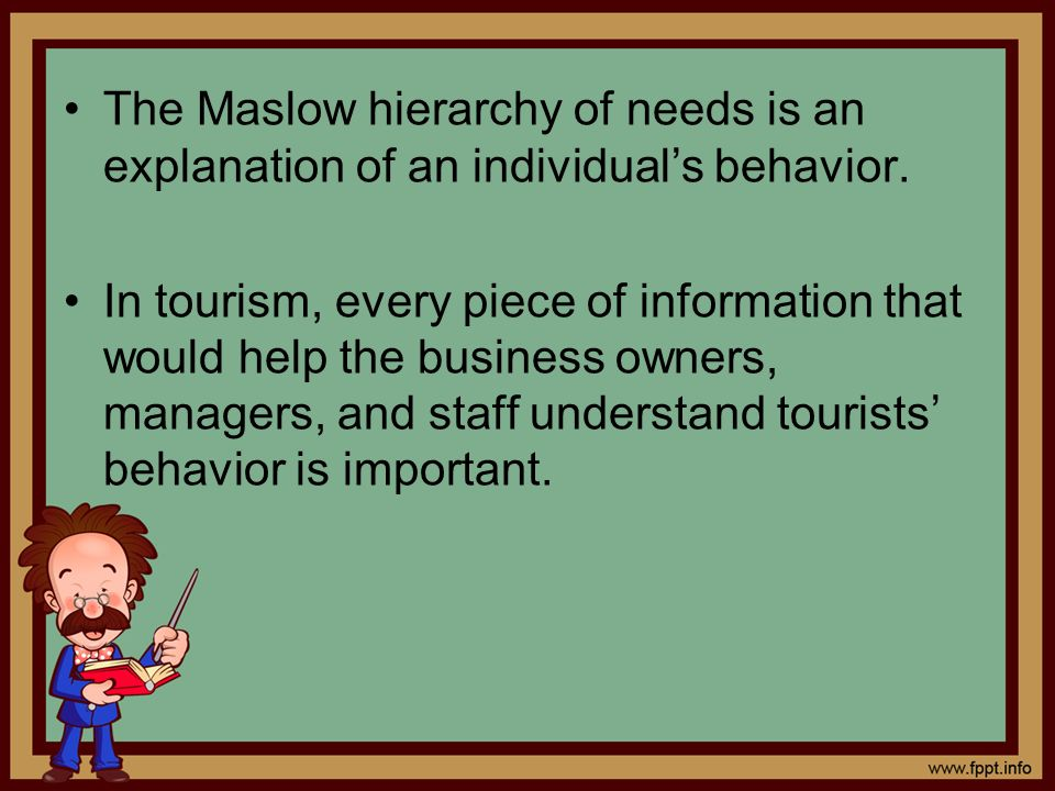 The Maslow hierarchy of needs is an explanation of an individual's behavior.
