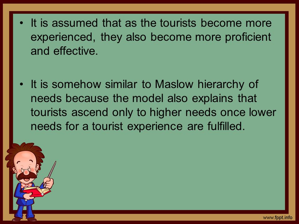 It is assumed that as the tourists become more experienced, they also become more proficient and effective.