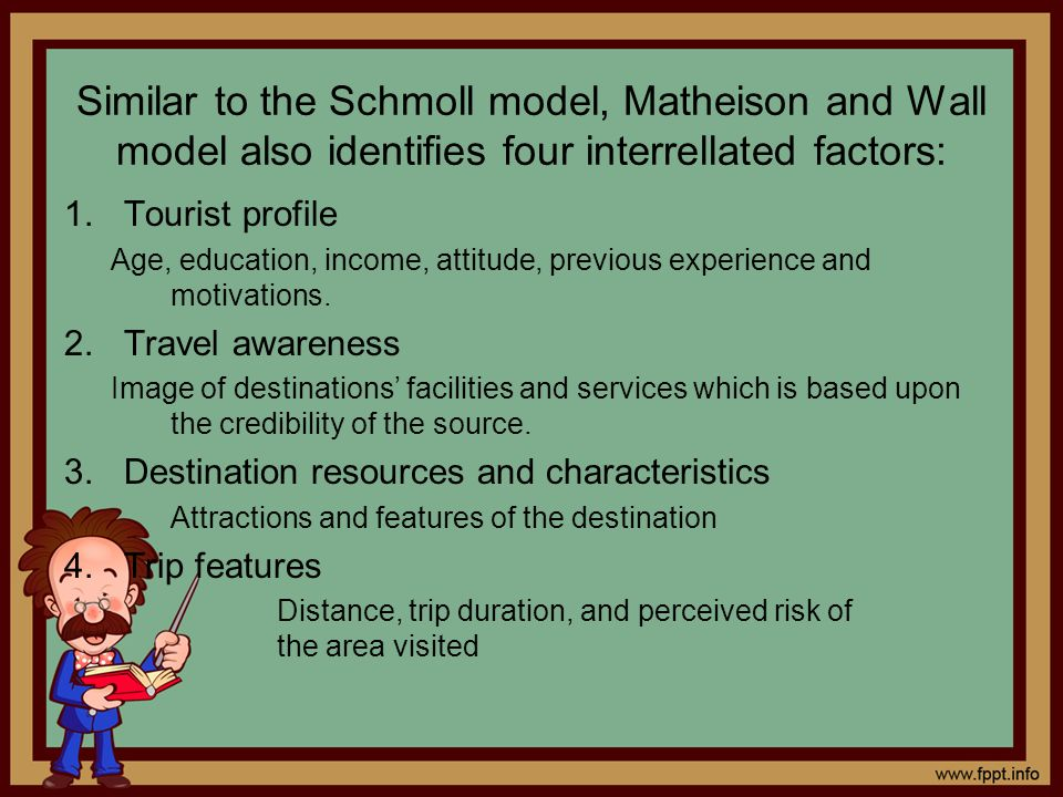 Similar to the Schmoll model, Matheison and Wall model also identifies four interrellated factors:
