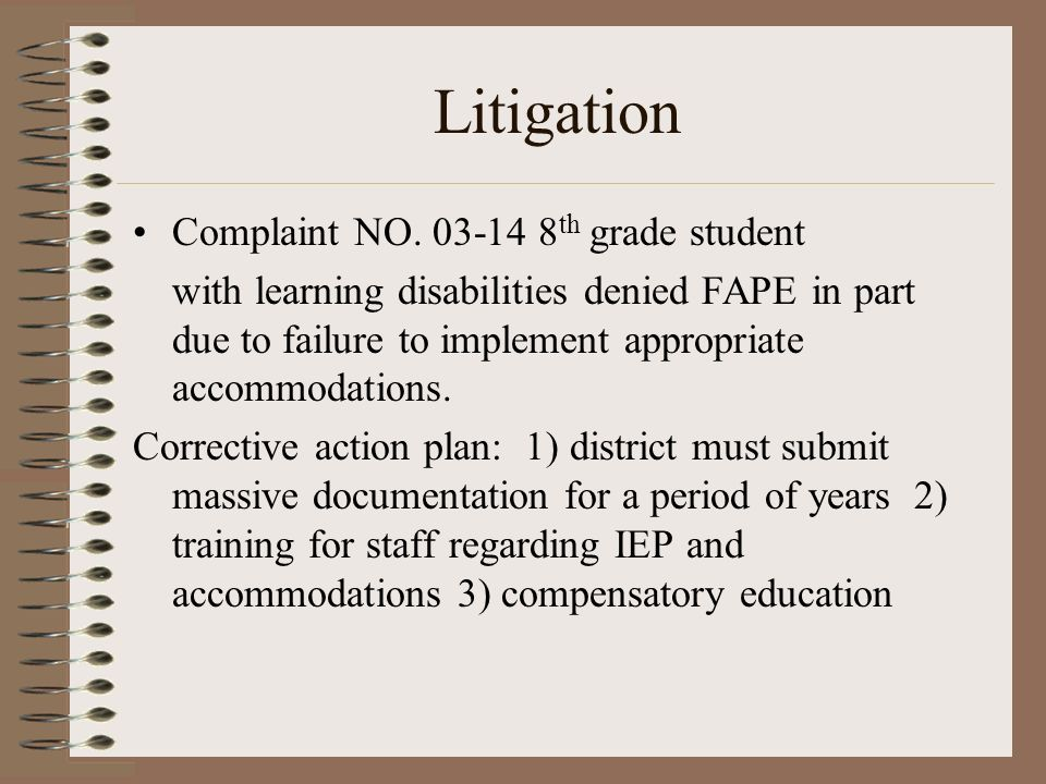 Litigation Complaint NO. 03-14 8th grade student