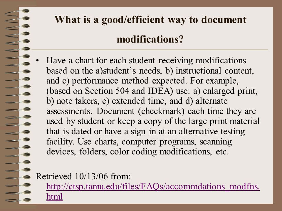 What is a good/efficient way to document modifications