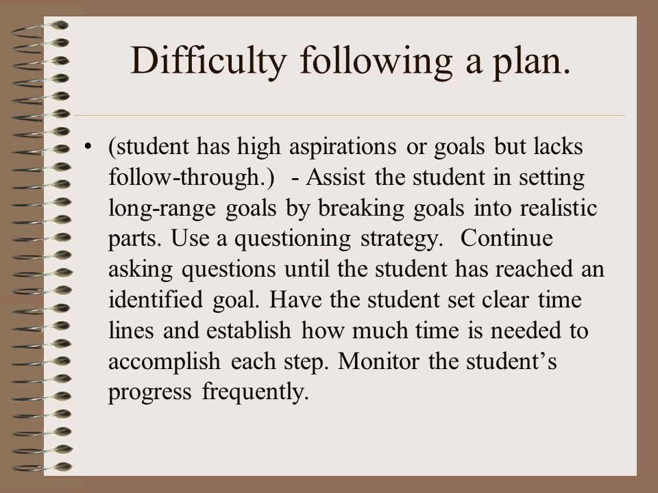 Difficulty following a plan.