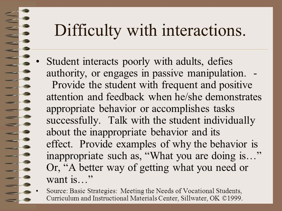 Difficulty with interactions.