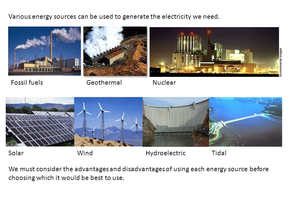 Various energy sources can be used to generate the electricity we need.