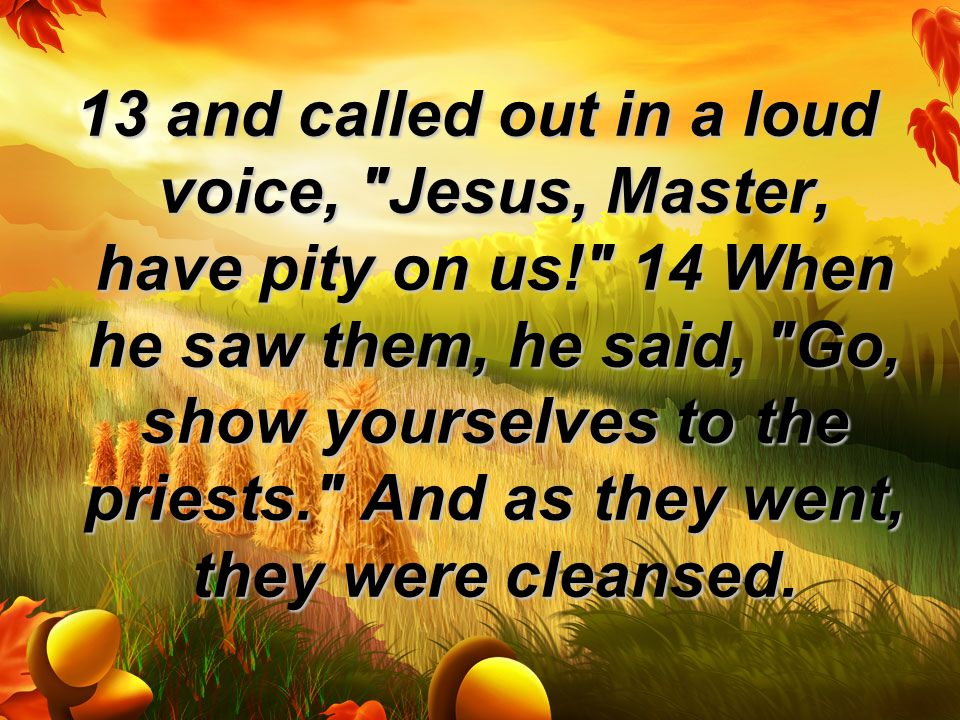 13 and called out in a loud voice, Jesus, Master, have pity on us