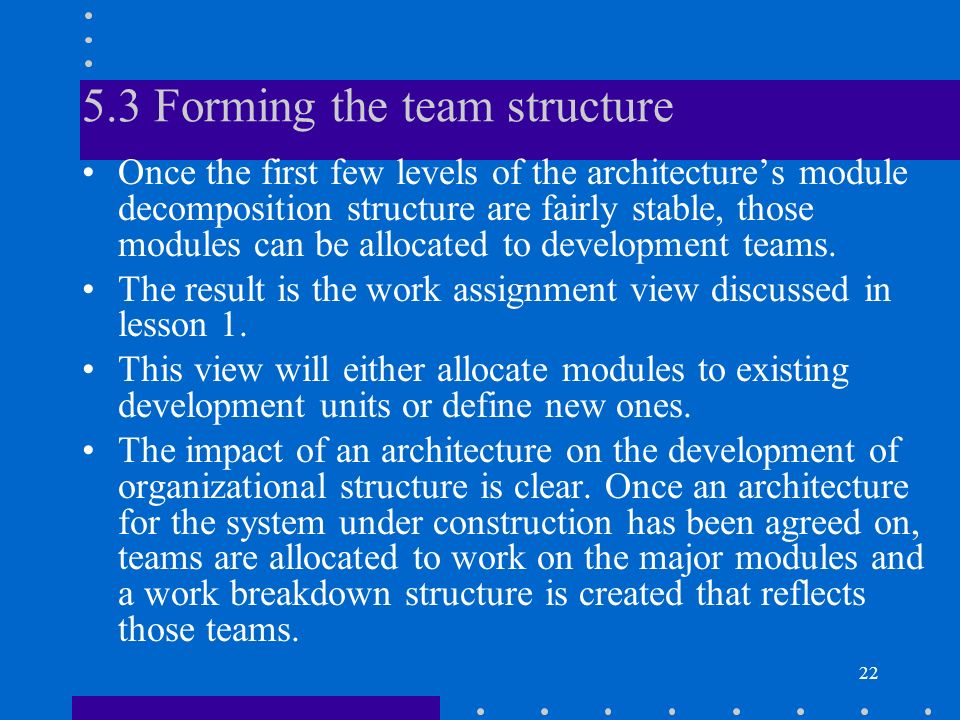 5.3 Forming the team structure