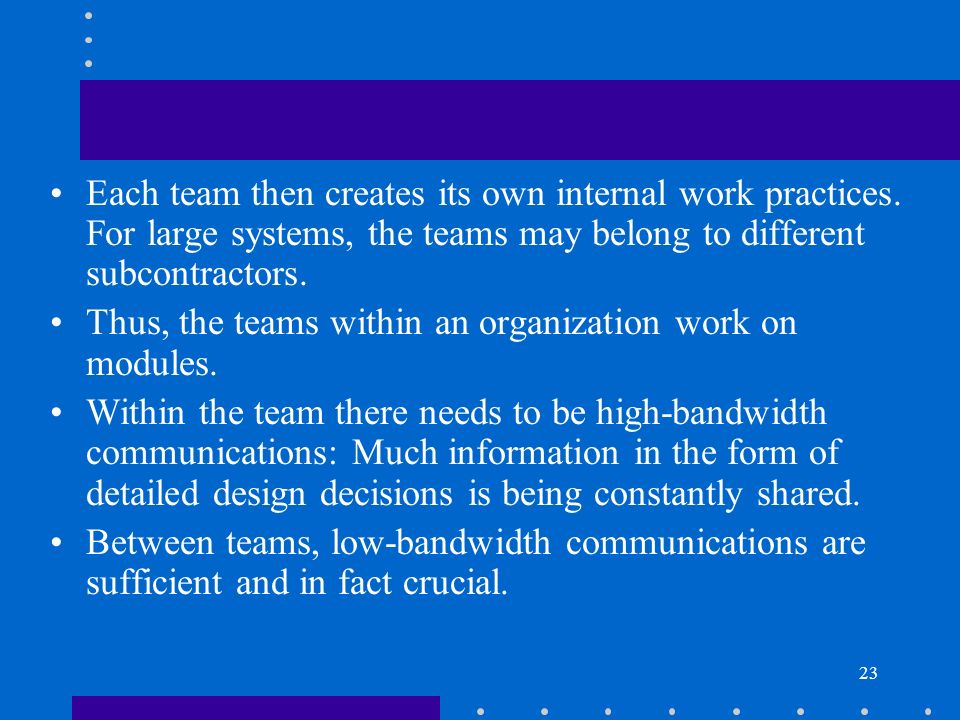 Each team then creates its own internal work practices