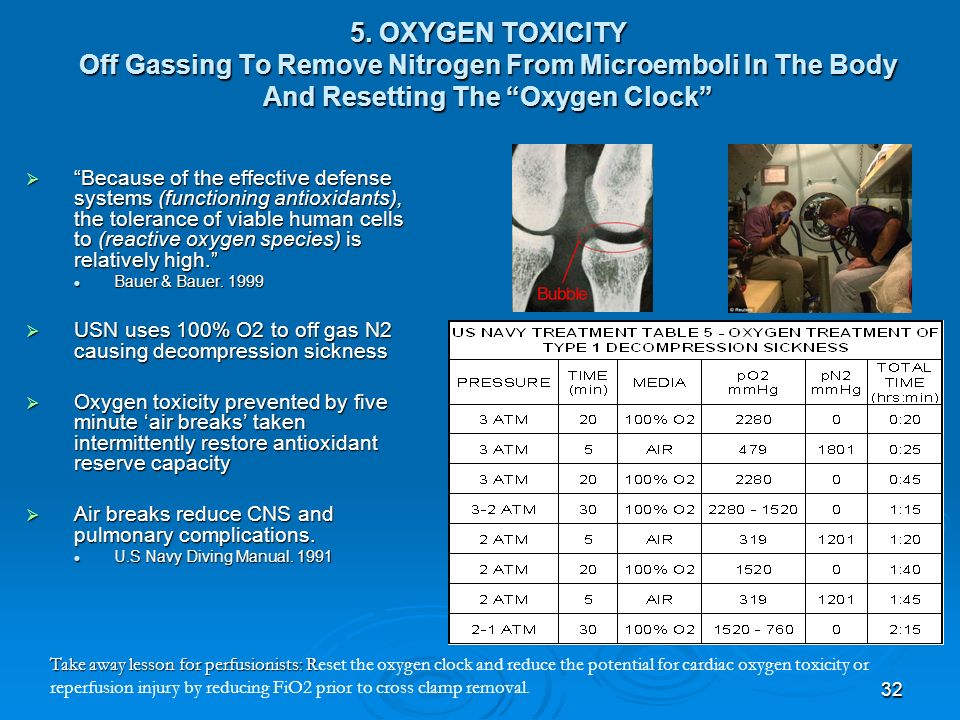 5. OXYGEN TOXICITY Off Gassing To Remove Nitrogen From Microemboli In The Body And Resetting The Oxygen Clock