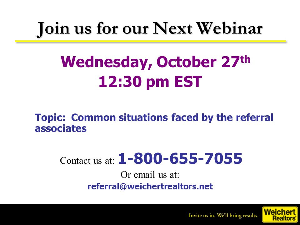 Join us for our Next Webinar