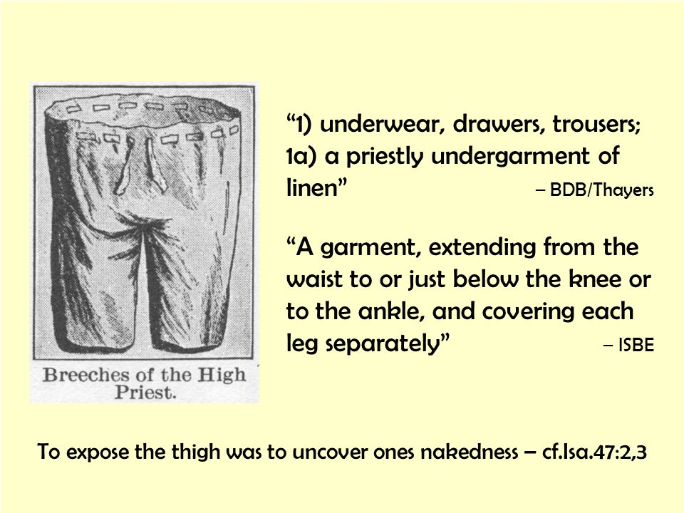 To expose the thigh was to uncover ones nakedness – cf.Isa.47:2,3