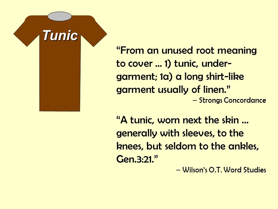 Tunic From an unused root meaning to cover ... 1) tunic, under-garment; 1a) a long shirt-like garment usually of linen.